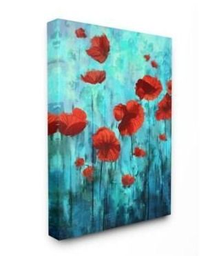 Stupell Industries Red Poppies Growing in Blue Sky Floral Design Canvas Wall Art Retail 107 49
