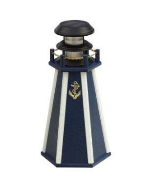 Kunkle holdings 18a solar powered poly lumber accent lighthouse light navy blue and white