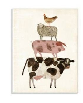 12 5 in  x 18 5 in   Cow Sheep Pig and Chicken Farm Animals  by Artist Victoria Borges Wood Wall Art