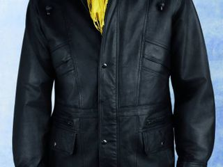 Excelled Men s leather Parka with Removable Hood Retail 156 49