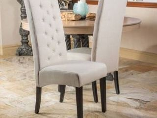 tall back natural fabric dining chair by Christopher knight home