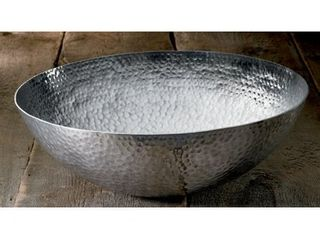 large 20 inch Round Hammered Aluminum Decorative Bowl Retail 107 49