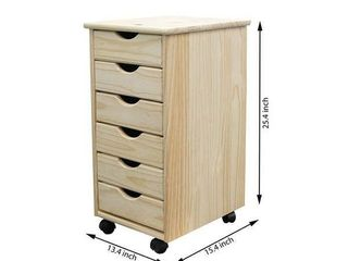 Adeptus Solid Wood 6 Drawer Roll Cart   Unfinished  Retail 84 49