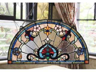 Chloe Tiffany Style Stained Glass Semi Circle Window Panel  Retail 109 99