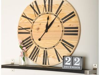 Farmhouse Wood Oversized Wall Clock  Retail 126 99