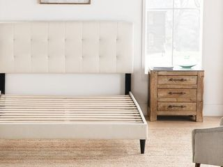 Copper Grove Ayrum Upholstered Bed Frame with Square Tufted Headboard  Retail 232 49