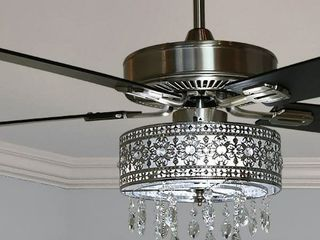 Copper Grove Cagua 52 inch Crystal lED Chandelier Ceiling Fan   52 l x 52 W x 18 25 H  Retail 238 99