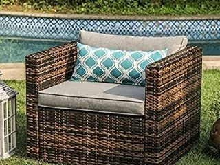 COSIEST 1 Piece Outdoor Furniture Wicker Mottlewood Brown