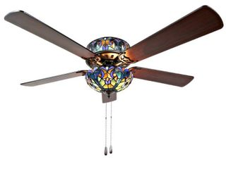 River of Goods 52  Halston Stained Glass lED Ceiling Fan With light