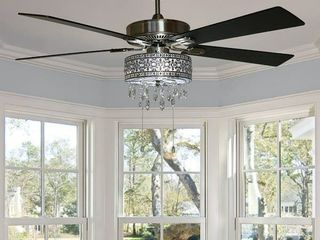 Copper Grove Cagua 52 inch Crystal lED Chandelier Ceiling Fan   52 l x 52 W x 18 25 H   52 l x 52 W x 18 25 H   Pull Chain
