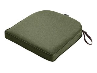 Classic Accessories Montlake Water Resistant 18 x 18 x 2 Inch Contoured Patio Dining Seat Cushion  Heather Fern Green