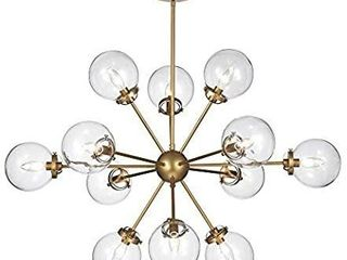 Warehouse of Tiffany HM108 12 Masakee 12 light Gold Sputnik Style Glass Sphere Shades Chandelier  Yellow delier