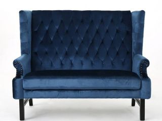 Nolie High Back Tufted Winged Velvet loveseat by Christopher Knight Home  Retail 506 49