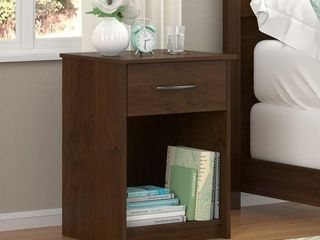 Altra White Stipple Night Stand with Storage Drawer
