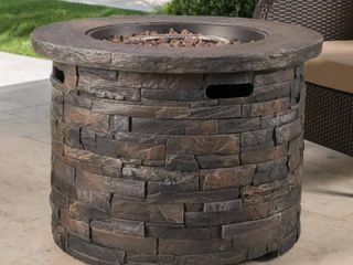 Blaeberry Outdoor Stone Fire Pit by Christopher Knight Home  Retail 845 67