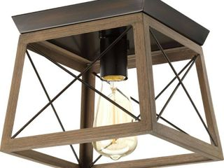 Briarwood Collection Rich Oak Farmhouse Flush Mount Ceiling light   10 000  x 11 750  x 12 120