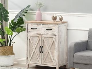 Rustic Wood Barn Door Storage Cabinet  Retail 253 99