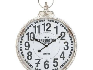 Traditional 32 Inch White Round Iron Wall Clock by Studio 350  Retail 88 99