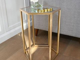 Abbyson Dammes Gold End Table  Retail 125 99