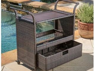 Corona Outdoor Wicker Bar Cart by Christopher Knight Home  Retail 258 80