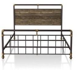 Furniture of America Damara Industrial Reclaimed Oak Queen Size Bed  Retail 448 49