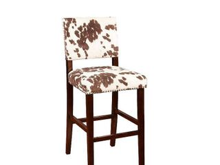 linon Holcombe Stationary Bar Stool Cattle Print Upholstery   Retail 119 99
