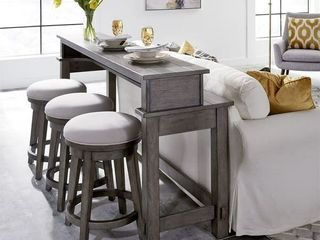 Modern Farmhouse Dusty Charcoal Console Swivel Stool  Retail 166 99