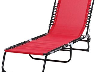 Outsunny 3 Position Reclining Beach Chair Chaise lounge Folding Chair with Comfort Ergonomic Design  Wine Red
