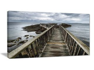 Wooden Pier on North Irish Coastline   Sea Bridge Canvas Wall Artwork  Retail 104 99