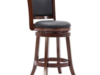 Round Wooden Swivel Counter Stool with Padded Seat and Back  Cherry Brown  Retail 214 99