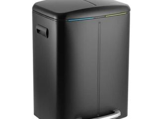 13 Gallon Automatic Trash Can for Kitchen Black Steel Touchless Motion Sensor Bin Soft Close lid 50l lED Timer Slim Design  Retail 81 48