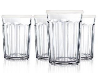 luminarc 21 Ounce Working Glass Storage Jar Cooler with lids  Set of 4