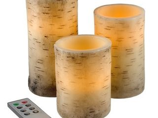 Flickering Flameless lED Candles with Birch Bark  Set of 3with Remote Control and Timer by Windsor Home
