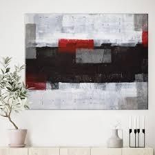 Designart  Grey and Red Abstract Art Painting  Modern Canvas Wall Art