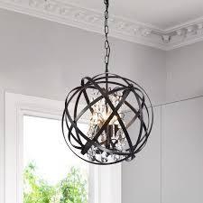Benita Antique Black 4 light Metal Globe Crystal Chandelier  Retail 136 49