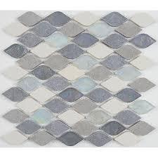 Decorative Accent Rain Drop Stone and Glass Mosaic Tile in Gris et Blanc   12x13 10 peices
