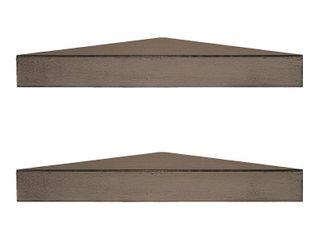 Porch   Den Martin Rustic Walnut Brown Wood Floating Corner Shelves  Set of 2