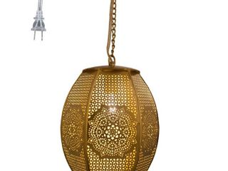 River of Goods 10 25 H Moroccan Sundial 1 light Pierced Metal Plug In Pendant   Gold  Retail 93 49