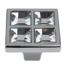 GlideRite 1 1 2 in  Square K9 Crystal Cabinet Knobs   Polished Chrome 15 pack
