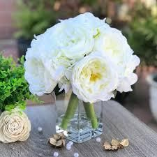 Enova Home Cream Peony and Hydrangea Mixed Faux Flower Arrangement With Clear Glass Vase