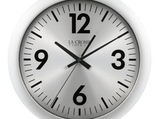 la Crosse Clock 11 5 In  Jett Analog Quartz Wall Clock  Silver