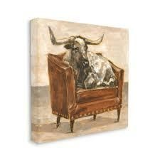 Stupell Industries Brown Bull Resting in Orange Brown Chair Painting Canvas Wall Art
