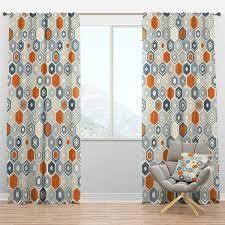 Designart  Retro Hexagon Pattern IX  Mid Century Modern Curtain Panels Retail 91 49