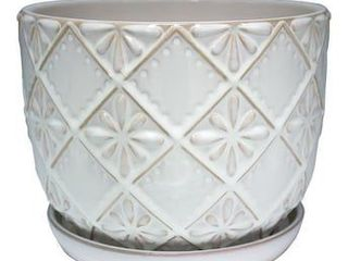 allen   roth 9 96 in W x 9 96 in H Cream Ceramic Planter