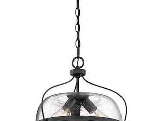 Quoizel Henderson Matte Black Farmhouse Seeded Glass Bowl Pendant light