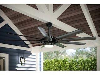 Fanimation Studio Collection Slinger v2 72 in Matte black lED Indoor Outdoor Ceiling Fan with Remote  9 Blade