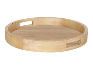 Kate and laurel Hutton Natural Finish Wood 18 inch Round Serving Tray  Retail 79 98