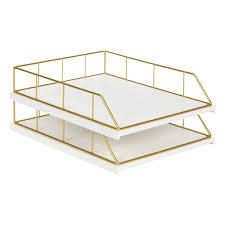 Carbon loft Richter Stacked Metal and Wood letter Trays white