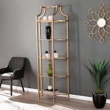 Silver Orchid Price Gold Metal Etagere Bookcase  Retail 287 49