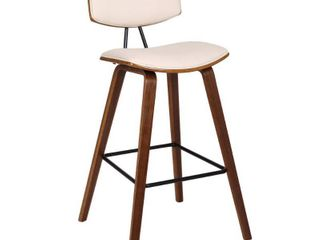 Fox 30  Mid Century Bar Height Barstool in Faux leather with Walnut Wood set of 2